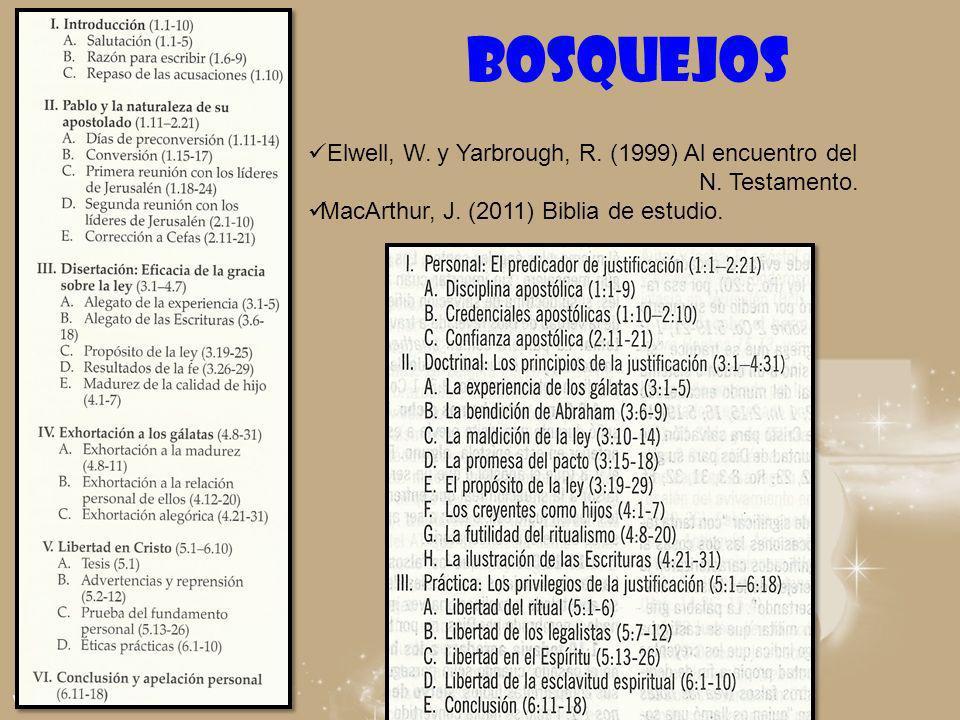 BOSQUEJOS Elwell, W. y Yarbrough, R. (1999) Al encuentro del N. Testamento. MacArthur, J. (2011) Biblia de estudio.