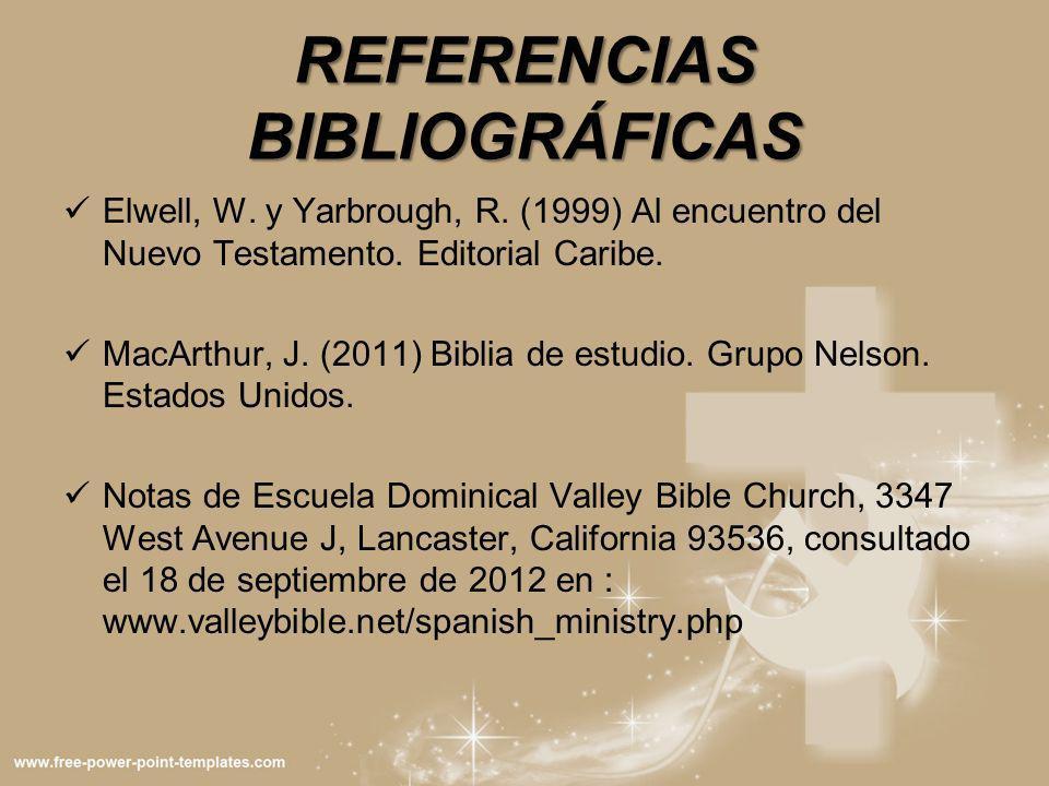 REFERENCIAS BIBLIOGRÁFICAS Elwell, W. y Yarbrough, R. (1999) Al encuentro del Nuevo Testamento. Editorial Caribe. MacArthur, J. (2011) Biblia de estud