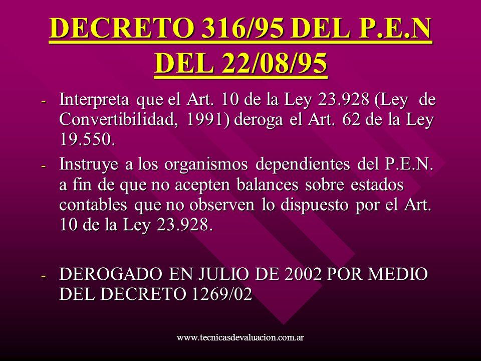 www.tecnicasdevaluacion.com.ar DECRETO 316/95 DEL P.E.N DEL 22/08/95 - Interpreta que el Art. 10 de la Ley 23.928 (Ley de Convertibilidad, 1991) derog