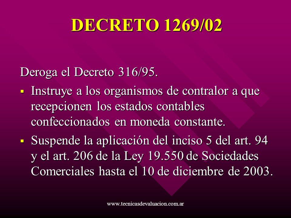 www.tecnicasdevaluacion.com.ar DECRETO 1269/02 Deroga el Decreto 316/95. Instruye a los organismos de contralor a que recepcionen los estados contable