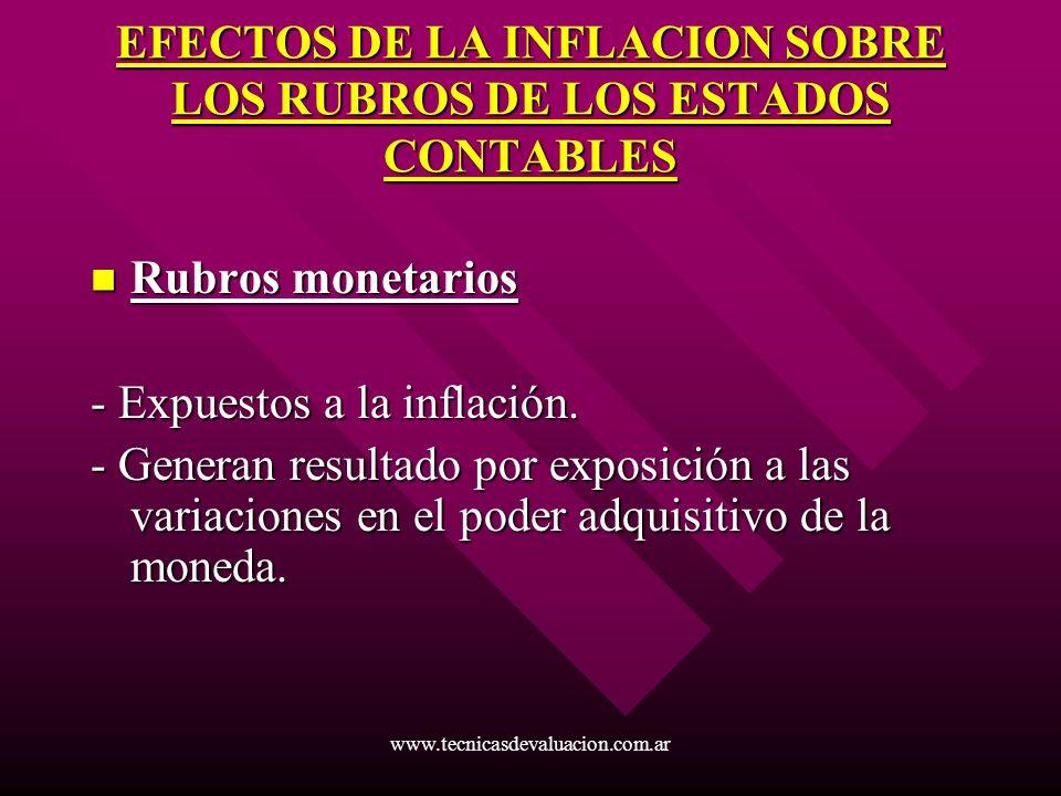 www.tecnicasdevaluacion.com.ar EFECTOS DE LA INFLACION SOBRE LOS RUBROS DE LOS ESTADOS CONTABLES Rubros monetarios Rubros monetarios - Expuestos a la