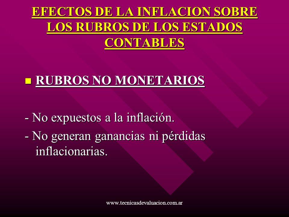 www.tecnicasdevaluacion.com.ar EFECTOS DE LA INFLACION SOBRE LOS RUBROS DE LOS ESTADOS CONTABLES RUBROS NO MONETARIOS RUBROS NO MONETARIOS - No expues