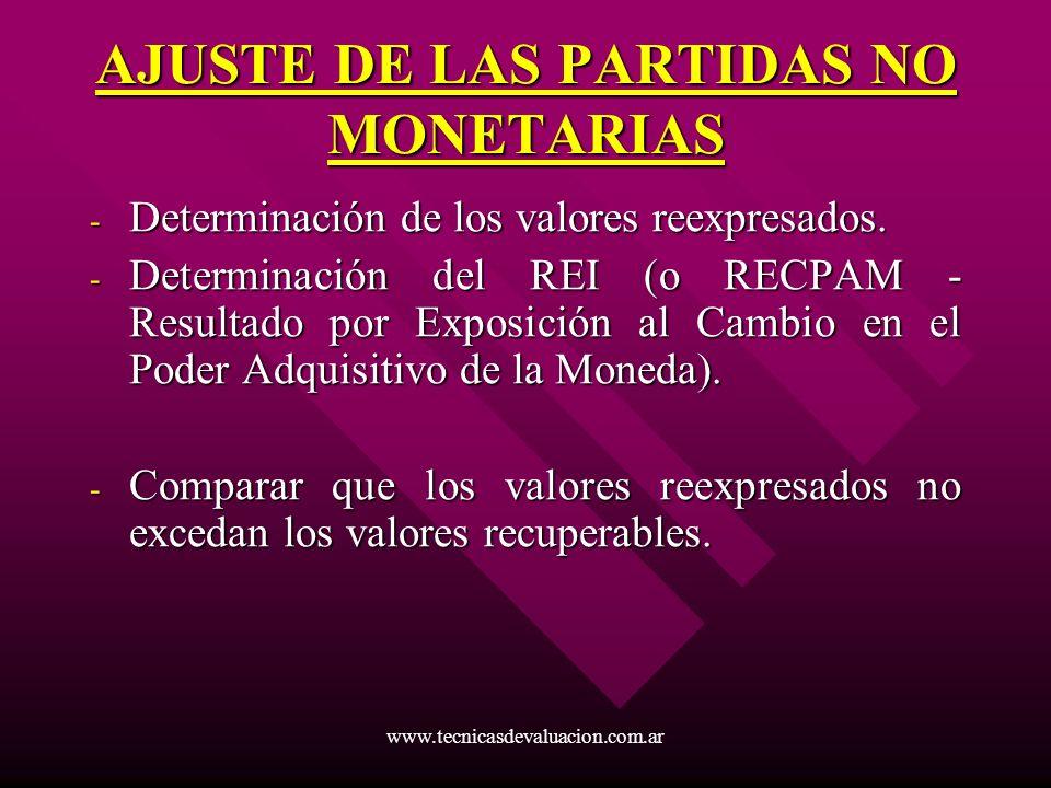 www.tecnicasdevaluacion.com.ar AJUSTE DE LAS PARTIDAS NO MONETARIAS - Determinación de los valores reexpresados. - Determinación del REI (o RECPAM - R