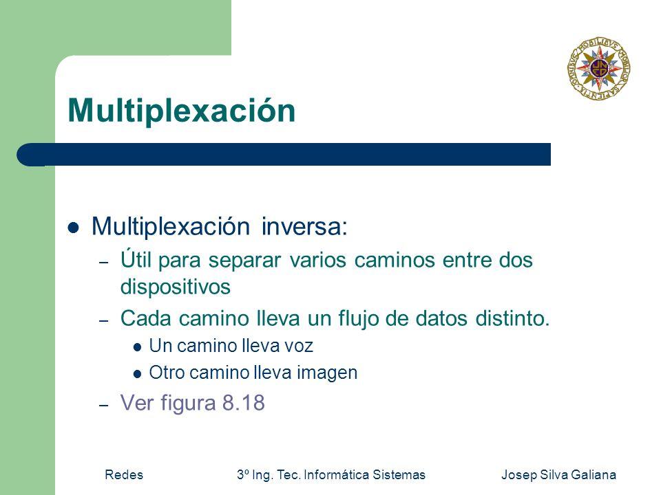 Redes3º Ing. Tec. Informática SistemasJosep Silva Galiana Multiplexación Multiplexación inversa: – Útil para separar varios caminos entre dos disposit