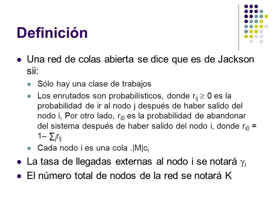 Definición Una red de colas abierta se dice que es de Jackson sii: Sólo hay una clase de trabajos Los enrutados son probabilísticos, donde r ij 0 es la probabilidad de ir al nodo j después de haber salido del nodo i, Por otro lado, r i0 es la probabilidad de abandonar del sistema después de haber salido del nodo i, donde r i0 = 1– j r ij Cada nodo i es una cola.|M|c i La tasa de llegadas externas al nodo i se notará i El número total de nodos de la red se notará K
