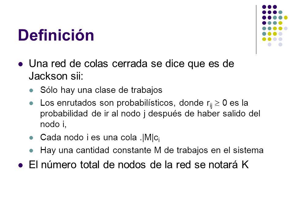 Definición Una red de colas cerrada se dice que es de Jackson sii: Sólo hay una clase de trabajos Los enrutados son probabilísticos, donde r ij 0 es la probabilidad de ir al nodo j después de haber salido del nodo i, Cada nodo i es una cola.|M|c i Hay una cantidad constante M de trabajos en el sistema El número total de nodos de la red se notará K