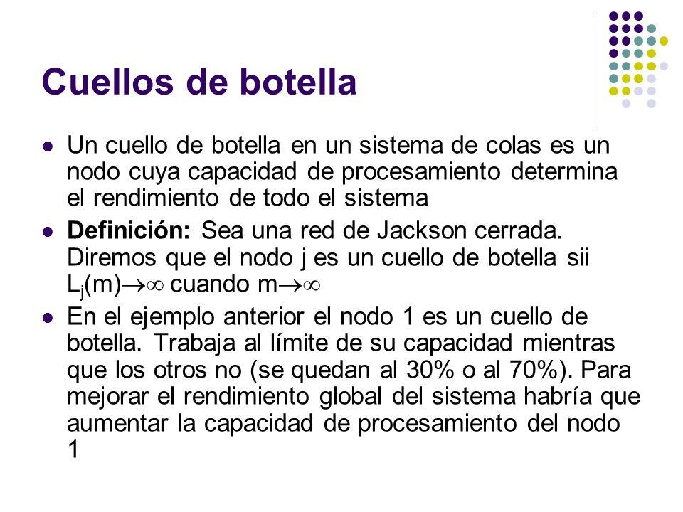 Cuellos de botella Un cuello de botella en un sistema de colas es un nodo cuya capacidad de procesamiento determina el rendimiento de todo el sistema Definición: Sea una red de Jackson cerrada.