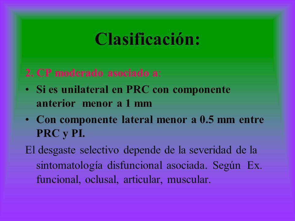 Clasificación: 2. CP moderado asociado a: Si es unilateral en PRC con componente anterior menor a 1 mm Con componente lateral menor a 0.5 mm entre PRC