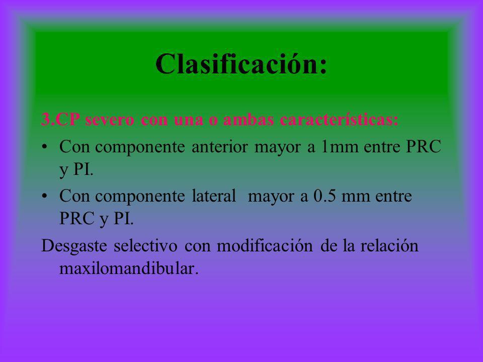 Clasificación: 3.CP severo con una o ambas características: Con componente anterior mayor a 1mm entre PRC y PI. Con componente lateral mayor a 0.5 mm