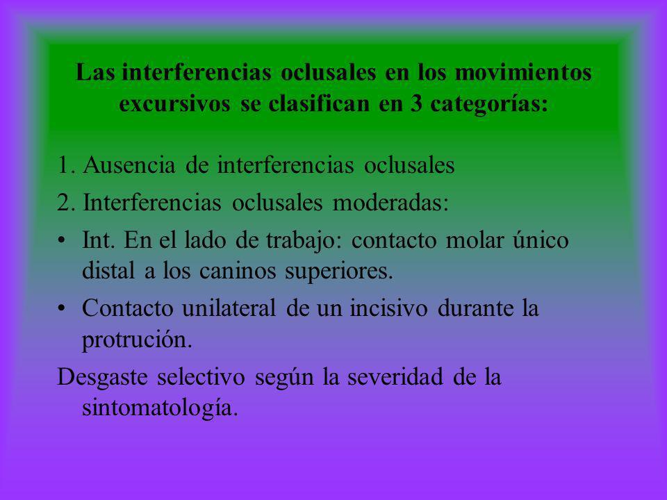 Las interferencias oclusales en los movimientos excursivos se clasifican en 3 categorías: 1. Ausencia de interferencias oclusales 2. Interferencias oc