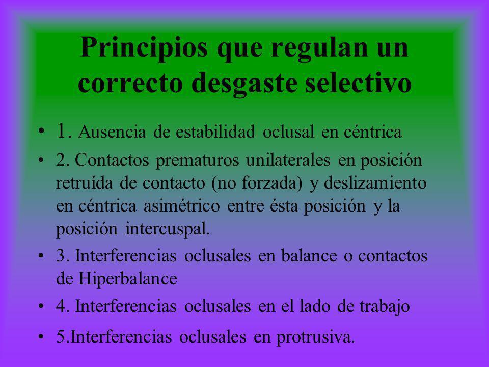 Principios que regulan un correcto desgaste selectivo 1. Ausencia de estabilidad oclusal en céntrica 2. Contactos prematuros unilaterales en posición