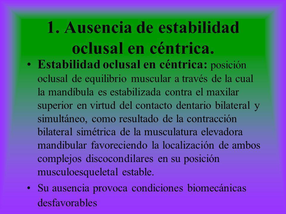 1. Ausencia de estabilidad oclusal en céntrica. Estabilidad oclusal en céntrica: posición oclusal de equilibrio muscular a través de la cual la mandíb