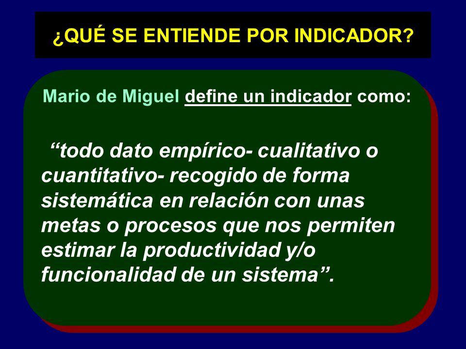¿QUÉ SE ENTIENDE POR INDICADOR? Mario de Miguel define un indicador como: todo dato empírico- cualitativo o cuantitativo- recogido de forma sistemátic