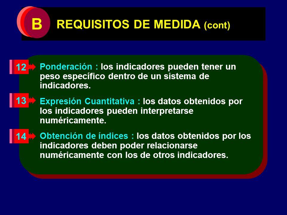 REQUISITOS DE MEDIDA (cont) Ponderación : los indicadores pueden tener un peso específico dentro de un sistema de indicadores. Expresión Cuantitativa