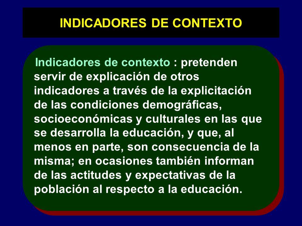 INDICADORES DE CONTEXTO Indicadores de contexto : pretenden servir de explicación de otros indicadores a través de la explicitación de las condiciones