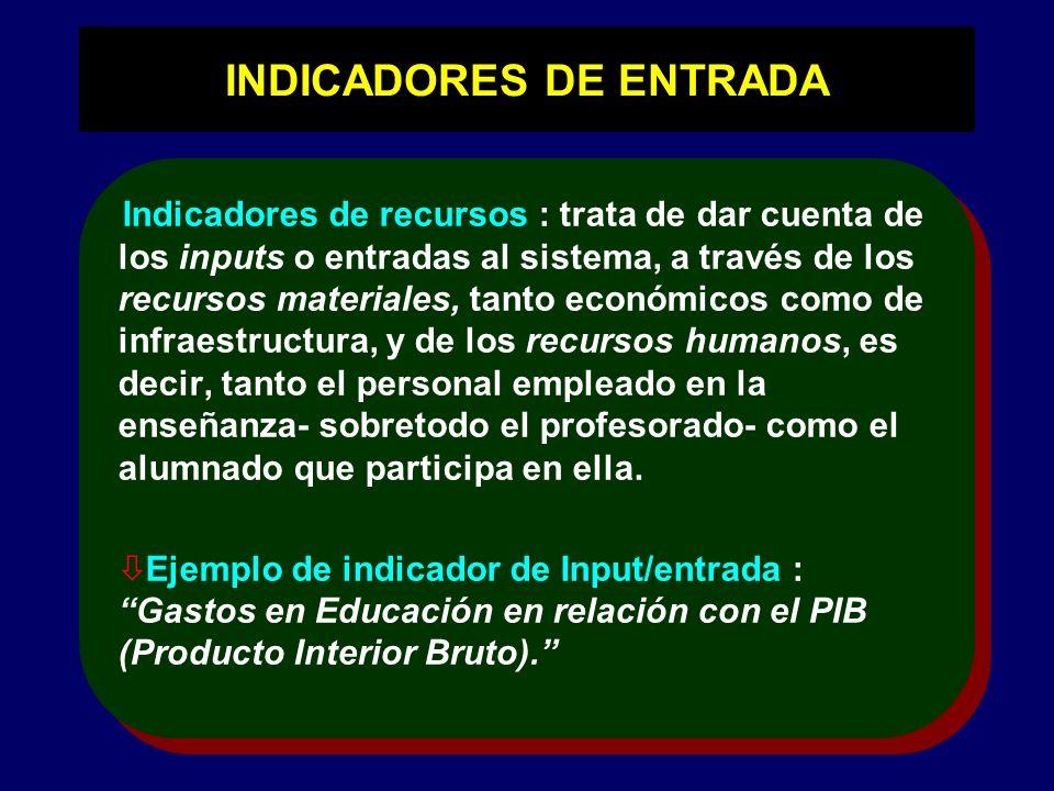 INDICADORES DE ENTRADA Indicadores de recursos : trata de dar cuenta de los inputs o entradas al sistema, a través de los recursos materiales, tanto e