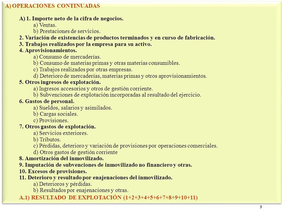3 A)OPERACIONES CONTINUADAS A)1. Importe neto de la cifra de negocios. a) Ventas. b) Prestaciones de servicios. 2. Variación de existencias de product