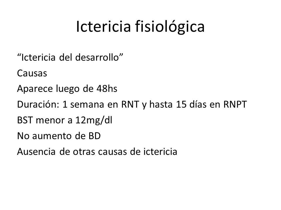Ictericia fisiológica Ictericia del desarrollo Causas Aparece luego de 48hs Duración: 1 semana en RNT y hasta 15 días en RNPT BST menor a 12mg/dl No a