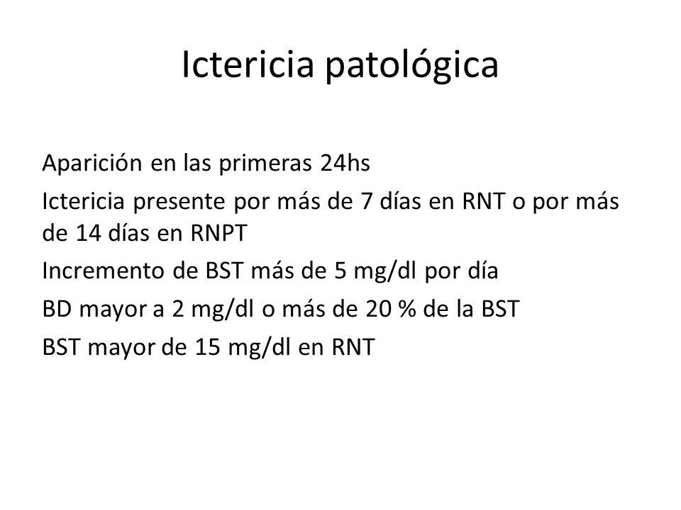 Ictericia patológica Aparición en las primeras 24hs Ictericia presente por más de 7 días en RNT o por más de 14 días en RNPT Incremento de BST más de