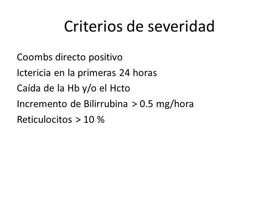Criterios de severidad Coombs directo positivo Ictericia en la primeras 24 horas Caída de la Hb y/o el Hcto Incremento de Bilirrubina > 0.5 mg/hora Re