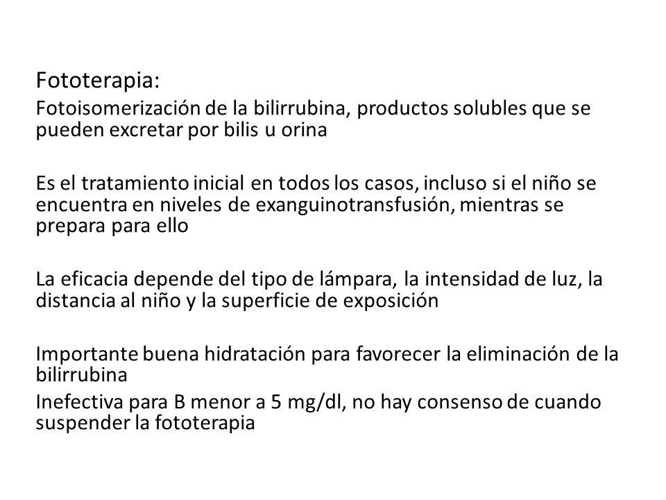 Fototerapia: Fotoisomerización de la bilirrubina, productos solubles que se pueden excretar por bilis u orina Es el tratamiento inicial en todos los c