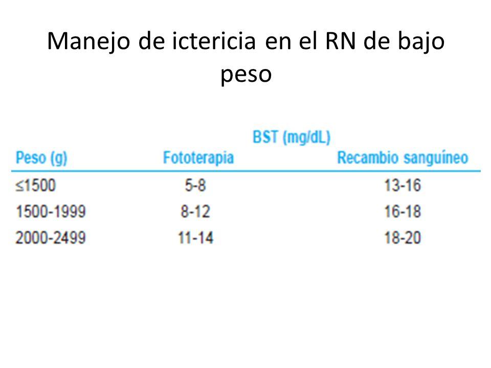 Manejo de ictericia en el RN de bajo peso
