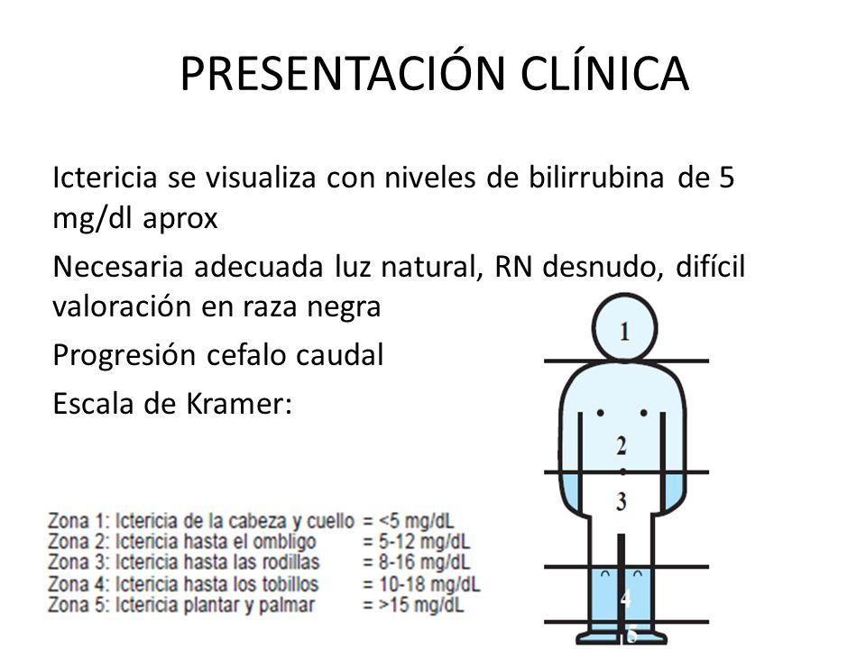 PRESENTACIÓN CLÍNICA Ictericia se visualiza con niveles de bilirrubina de 5 mg/dl aprox Necesaria adecuada luz natural, RN desnudo, difícil valoración