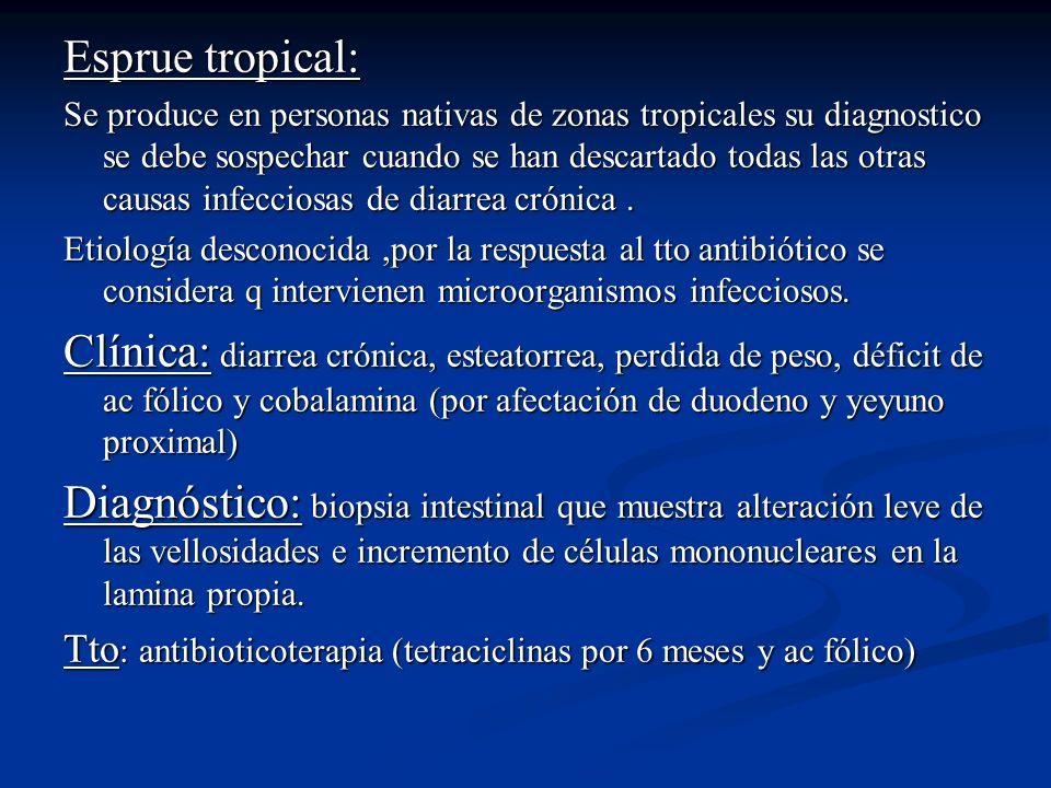 Esprue tropical: Se produce en personas nativas de zonas tropicales su diagnostico se debe sospechar cuando se han descartado todas las otras causas i