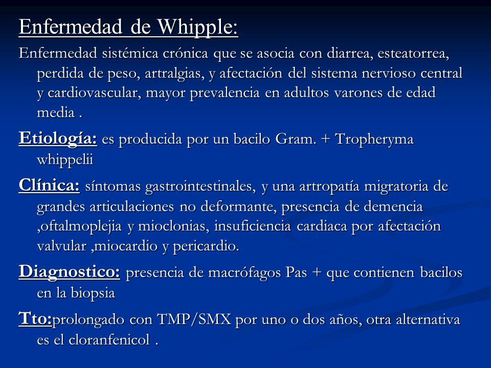 Enfermedad de Whipple: Enfermedad sistémica crónica que se asocia con diarrea, esteatorrea, perdida de peso, artralgias, y afectación del sistema nerv