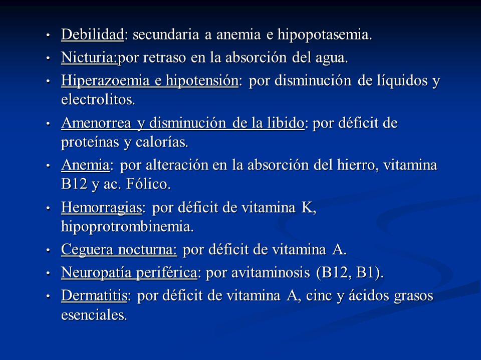 Debilidad: secundaria a anemia e hipopotasemia. Debilidad: secundaria a anemia e hipopotasemia. Nicturia:por retraso en la absorción del agua. Nicturi