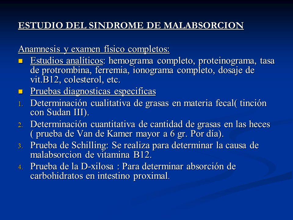 ESTUDIO DEL SINDROME DE MALABSORCION Anamnesis y examen físico completos: Estudios analíticos: hemograma completo, proteinograma, tasa de protrombina,