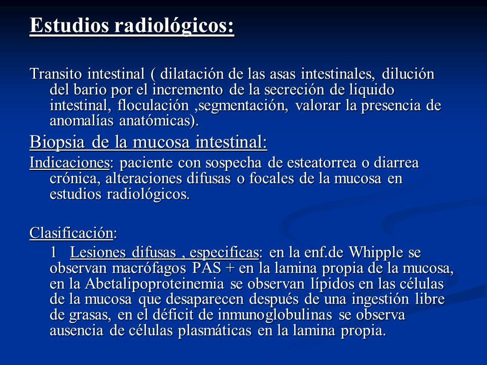 Estudios radiológicos: Transito intestinal ( dilatación de las asas intestinales, dilución del bario por el incremento de la secreción de liquido inte
