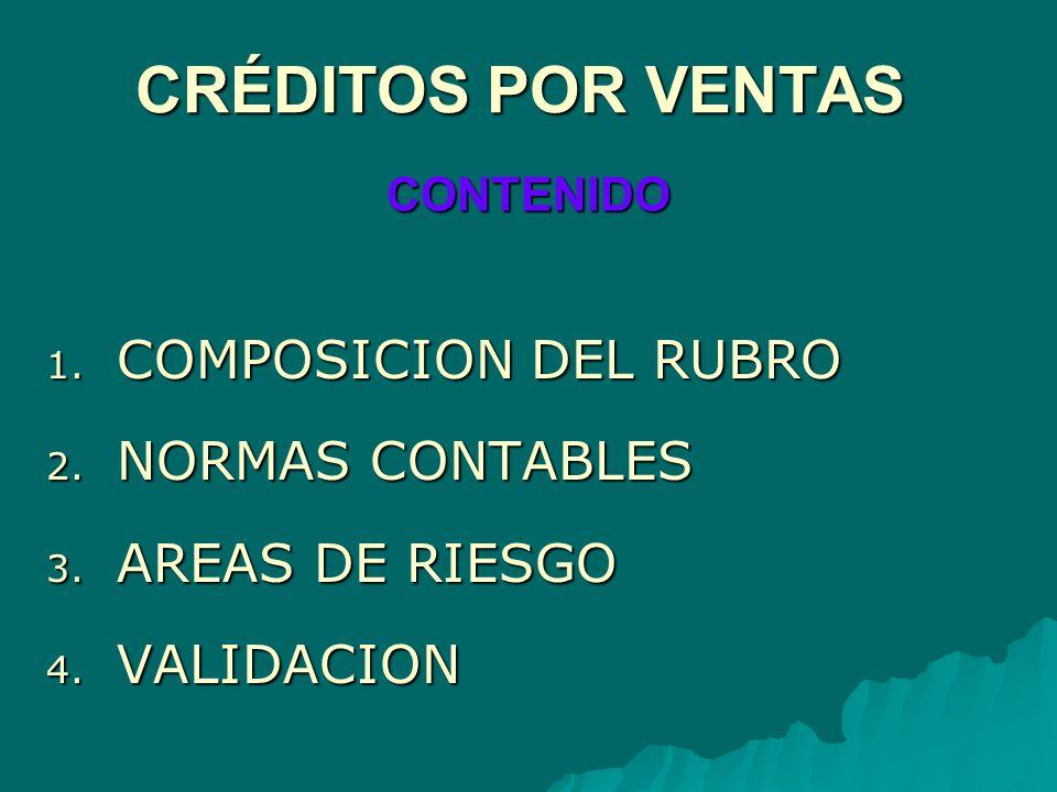 1. COMPOSICION DEL RUBRO 2. NORMAS CONTABLES 3. AREAS DE RIESGO 4. VALIDACION CONTENIDO