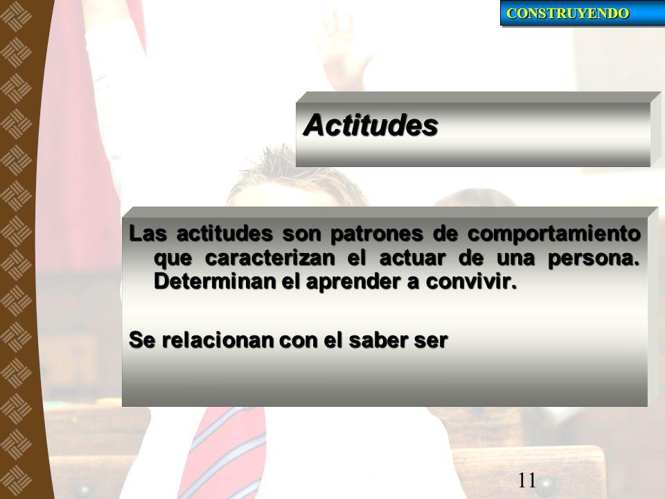 Actitudes Las actitudes son patrones de comportamiento que caracterizan el actuar de una persona. Determinan el aprender a convivir. Se relacionan con