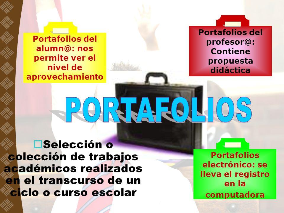 Portafolios del profesor@: Contiene propuesta didáctica Portafolios del alumn@: nos permite ver el nivel de aprovechamiento Portafolios electrónico: s