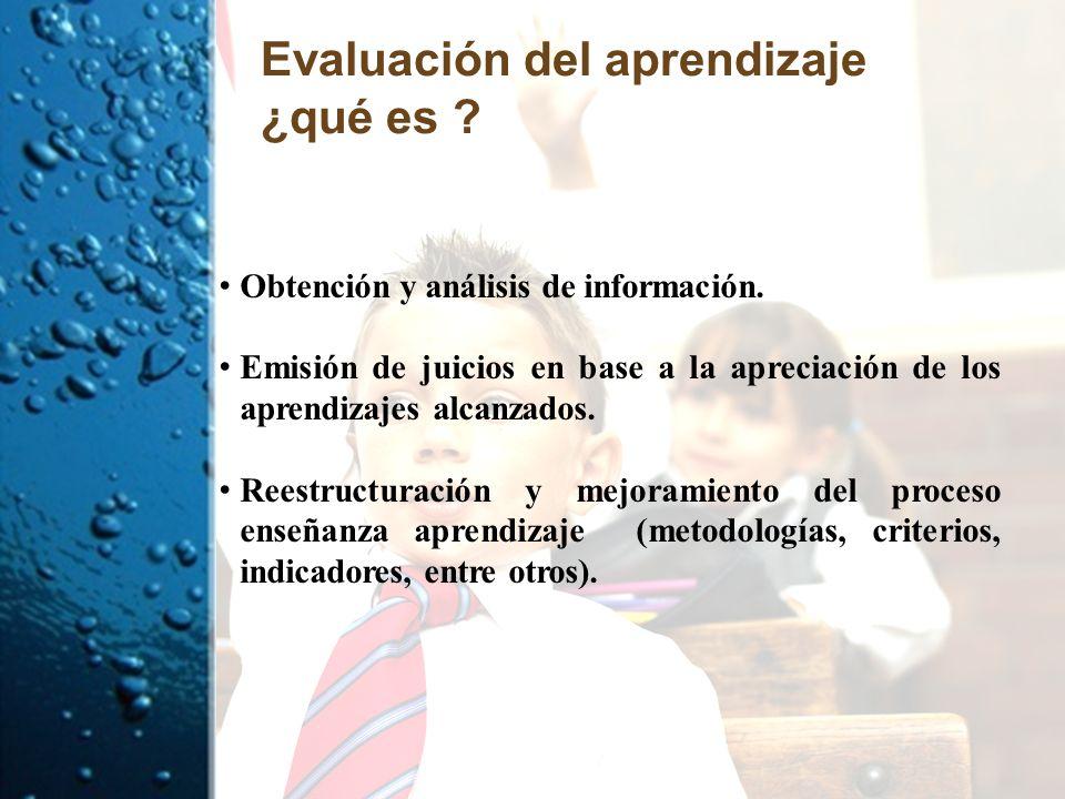 Evaluación del aprendizaje ¿qué es ? Obtención y análisis de información. Emisión de juicios en base a la apreciación de los aprendizajes alcanzados.