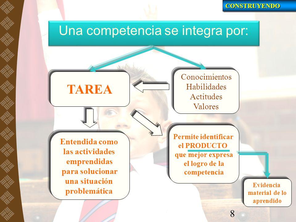 8 Una competencia se integra por: TAREA Conocimientos Habilidades Actitudes Valores Entendida como las actividades emprendidas para solucionar una sit