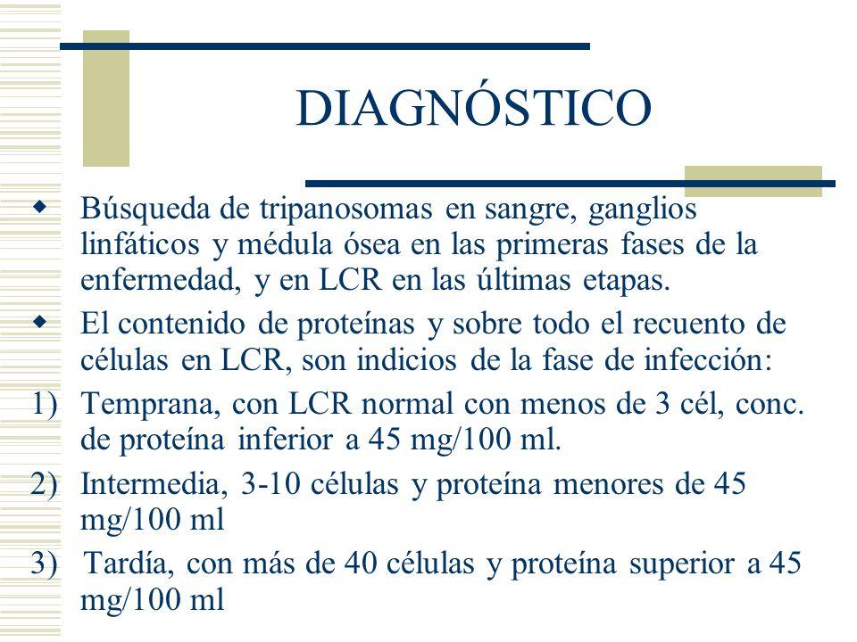 DIAGNÓSTICO Búsqueda de tripanosomas en sangre, ganglios linfáticos y médula ósea en las primeras fases de la enfermedad, y en LCR en las últimas etapas.