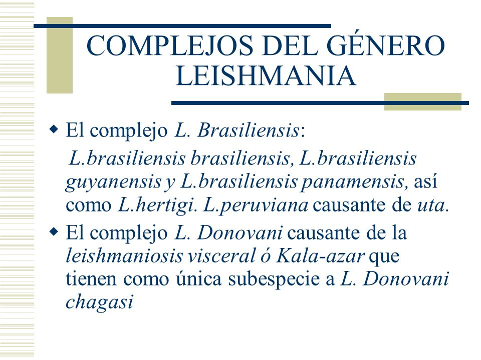 COMPLEJOS DEL GÉNERO LEISHMANIA El complejo L.