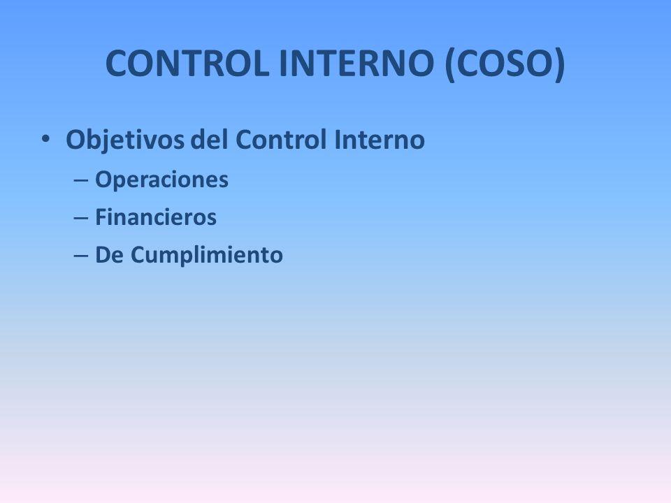 CONTROL INTERNO (COSO) Objetivos del Control Interno – Operaciones – Financieros – De Cumplimiento