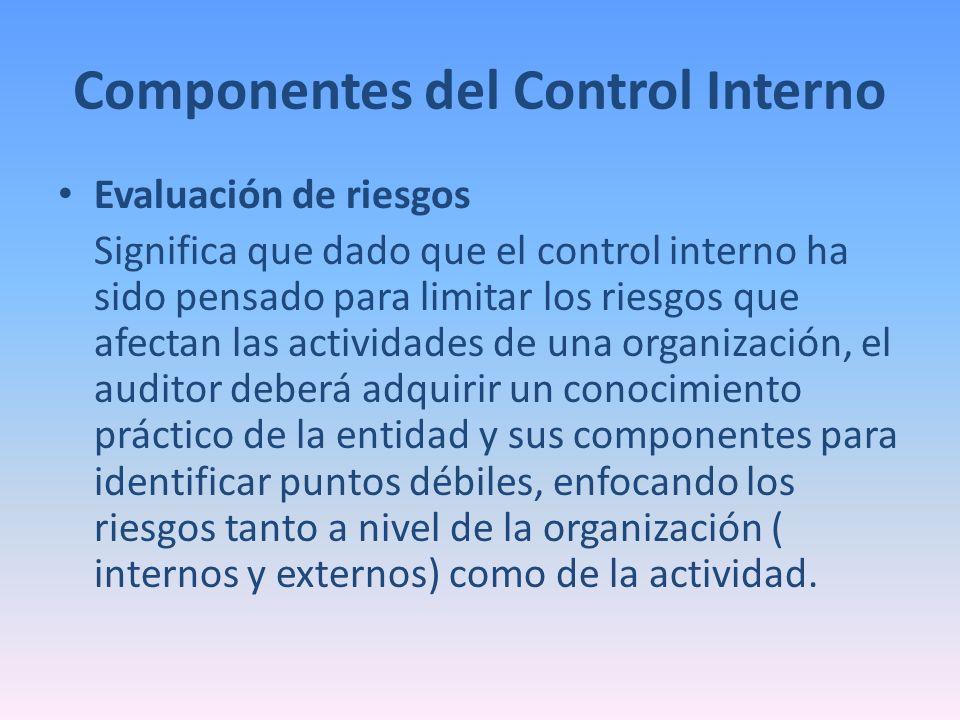 Componentes del Control Interno Evaluación de riesgos Significa que dado que el control interno ha sido pensado para limitar los riesgos que afectan l