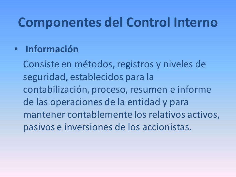 Componentes del Control Interno Información Consiste en métodos, registros y niveles de seguridad, establecidos para la contabilización, proceso, resu