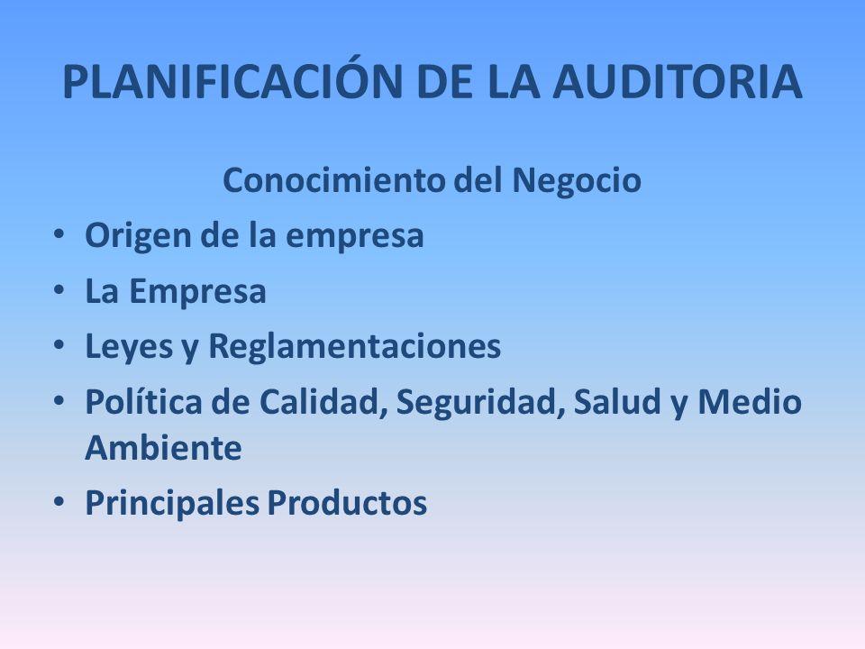PLANIFICACIÓN DE LA AUDITORIA Conocimiento del Negocio Origen de la empresa La Empresa Leyes y Reglamentaciones Política de Calidad, Seguridad, Salud