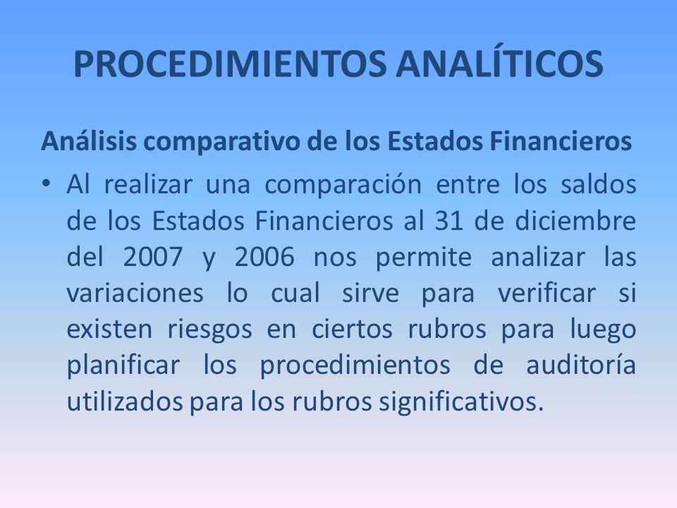 PROCEDIMIENTOS ANALÍTICOS Análisis comparativo de los Estados Financieros Al realizar una comparación entre los saldos de los Estados Financieros al 3