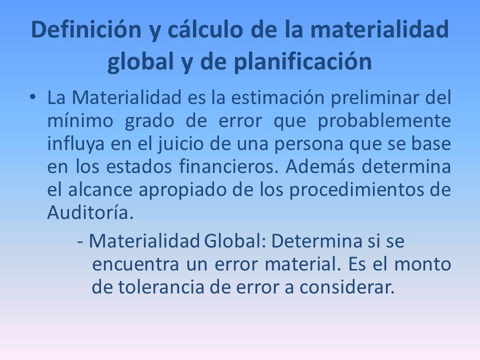 Definición y cálculo de la materialidad global y de planificación La Materialidad es la estimación preliminar del mínimo grado de error que probableme