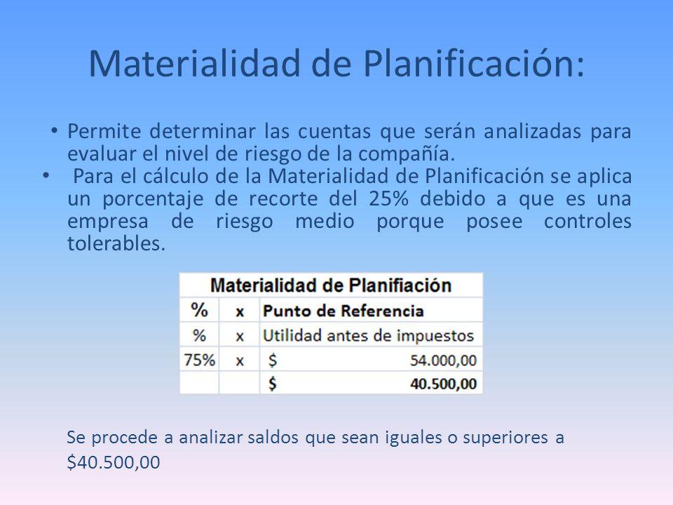 Materialidad de Planificación: Permite determinar las cuentas que serán analizadas para evaluar el nivel de riesgo de la compañía. Para el cálculo de