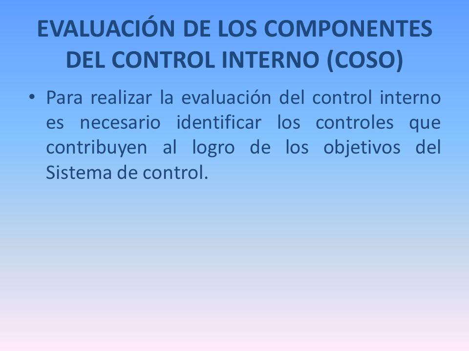 EVALUACIÓN DE LOS COMPONENTES DEL CONTROL INTERNO (COSO) Para realizar la evaluación del control interno es necesario identificar los controles que co