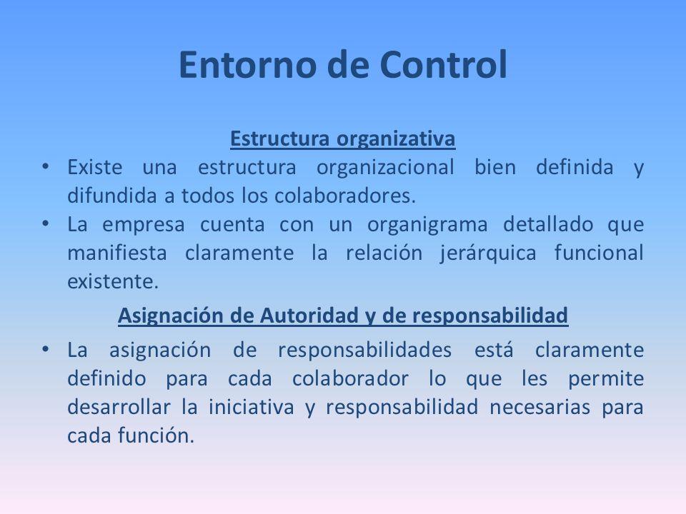 Entorno de Control Estructura organizativa Existe una estructura organizacional bien definida y difundida a todos los colaboradores. La empresa cuenta