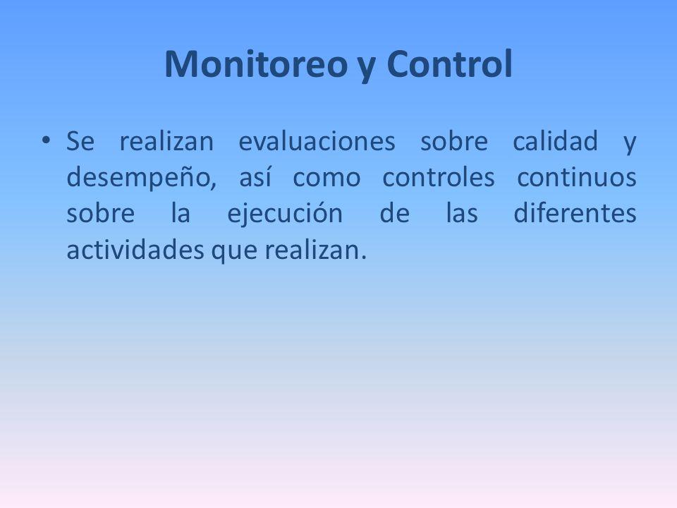 Monitoreo y Control Se realizan evaluaciones sobre calidad y desempeño, así como controles continuos sobre la ejecución de las diferentes actividades