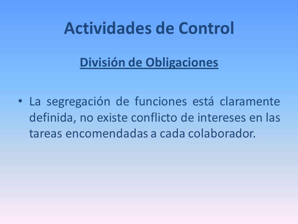 Actividades de Control División de Obligaciones La segregación de funciones está claramente definida, no existe conflicto de intereses en las tareas e